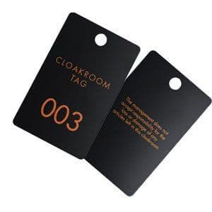 Plastic Cloakroom Tags with disclaimer, Pack of 100 pairs